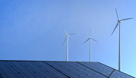 Eco power ,  Renewable energy , Wind turbine and solar cell panels on Blue Sky royalty free illustration