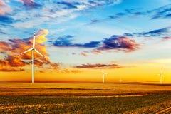 Eco power in wind turbine farm Stock Photo