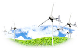 Eco power, wind turbines generating electricity. Against partly cloudy blue sky and grassland, green earth concept stock photo
