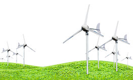 Eco power, wind turbines generating electricity. Green earth concept, isolated on white background royalty free stock photos