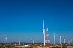 Eco power, wind turbines generating electricity, renewable energ Stock Photos