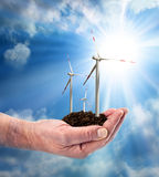 Eco power, wind turbines in the hand Stock Photography