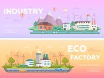 Eco a prémonté des illustrations plates modernes de vecteur de style de conception illustration stock