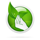 Eco pro nature symbol. Green eco pro nature symbol, hand holding leaves Royalty Free Stock Images