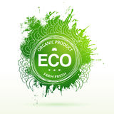 Eco product drawing splash elements label Royalty Free Stock Image