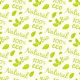 Eco products seamless pattern design. Bio, natural, eco Stock Photography