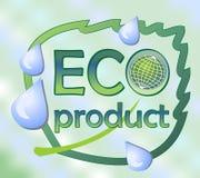 Eco produktetikett med ett blad och ett jordklot Fotografering för Bildbyråer