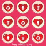 Eco projekta elementy w sercu również zwrócić corel ilustracji wektora Zdjęcie Royalty Free