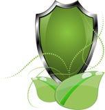 Eco protègent Logo Template Design Label écologique de bouclier Icône d'usine Images libres de droits