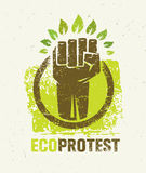 Eco Protest Creative Green Poster Concept. Organic Vector Fist on Paper Background Stock Image