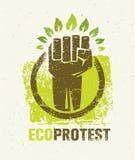 Eco-Protest-kreatives grünes Plakat-Konzept Organische Vektor-Faust auf Papierhintergrund Stockbild