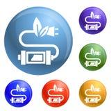 Eco prymki ikona ustawiający wektor ilustracji