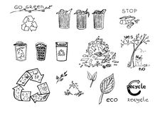 Eco réutilisant l'ensemble Photo stock