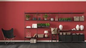 Eco röd inredesign med träbokhyllan, diy vertikala gard Royaltyfria Bilder