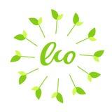 Eco ręka rysujący logo, etykietka z zieloną kwiecistą ramą z liściem, Wektorowa ilustracja eps 10 dla jedzenia i napoju Obrazy Stock