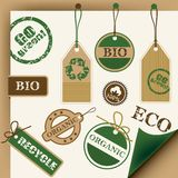 Eco, recicl, bio Tag e selos Imagem de Stock Royalty Free