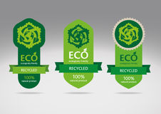 Eco recicl o jogo de etiqueta Imagens de Stock Royalty Free