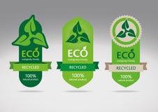 Eco recicla el conjunto de escritura de la etiqueta