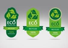 Eco recicla el conjunto de escritura de la etiqueta Imagen de archivo