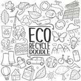 Eco Recycle ReuseTraditional doodle icon hand draw set. A emblematic elements of Ecology Eco Recycle Doodle Style Hand Draw elements and objects set Stock Photos