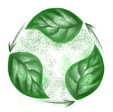 Eco recycling hand drawing green leaves Stock Photos