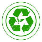 Eco recycling sign. Illustration of a grunge eco recycling sign on a white background Stock Photos