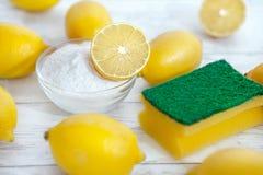 Eco-Reiniger Backnatron, Zitronen und Schwamm stockbilder