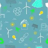 Eco related seamless print. Contains symbols for different types of electricity generation. Wind generators, solar panels, biofuel, hydropower. Alternative vector illustration