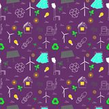 Eco related seamless print. Contains symbols for different types of electricity generation. Wind generators, solar panels, biofuel, hydropower. Alternative stock illustration