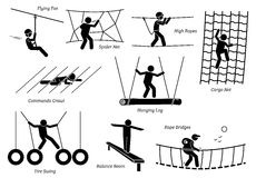 Eco Resort Activities. Artworks depict games at eco resort which includes flying fox, spider net, high ropes walk, cargo net climbing, crawl, hanging log, tire Royalty Free Stock Photos