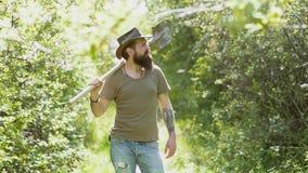 Eco Resort Activities. Enjoy in farm. Happy farmer in cowboy hat having fun on field. Man farmer concept. Eco farm stock video footage