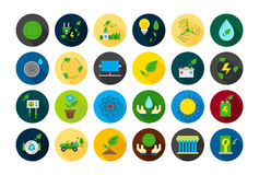 Eco round  icons set. Set of 24 eco round  icons Royalty Free Stock Photo