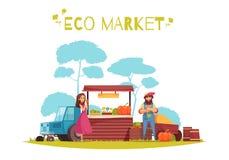 Eco rynku Horticulture kreskówki ilustracja ilustracja wektor