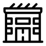 Eco słonecznego domu ikona, konturu styl royalty ilustracja