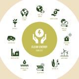 Eco samling med olika symboler p? temat av ekologi och gr?n energi royaltyfri illustrationer