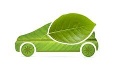 Eco samochód na liściu Ja Obraz Royalty Free