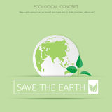 Eco sapling on earth. Royalty Free Stock Images