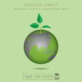 Eco sapling on earth. Save the earth.With eco green sapling on the green earth concept design.Vector illustration Stock Images