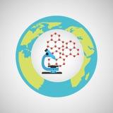 Eco science research microscope icon Stock Image
