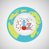 Eco science research structure molecule icon Royalty Free Stock Images