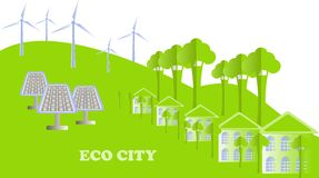 Eco series. Eco city background. White buildings, green tree, hills, windmills, solar panels on white, vector Royalty Free Stock Image
