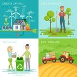Eco set, recycling, planting trees, energy saving, eco farming themes. Stock Images