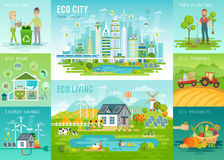 Eco set, recycling, planting trees, energy saving, eco farming themes. Vector illustration Stock Photo