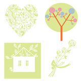 Eco set with tree, heart, house Royalty Free Stock Photography