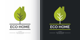 Eco-settlement. Logo and design element. Vector illustration with the image of a leaf-tree in two variants on white and black background Stock Image