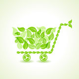 Eco shopping cart with group of green leaf Stock Images