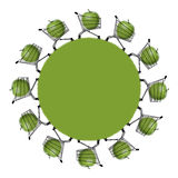Eco shopping planet. Silhouette of a green planet with shopping caddies charged with huge green apples Stock Photo