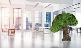 Eco si inverdisce il concetto dell'ambiente presentato dall'albero come il meccanismo o motore di lavoro Immagine Stock Libera da Diritti