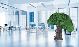 Eco si inverdisce il concetto dell'ambiente presentato dall'albero come mecha di lavoro Immagini Stock Libere da Diritti