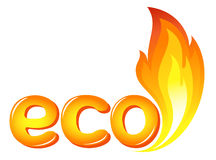 Eco sign with fire flames Stock Photos
